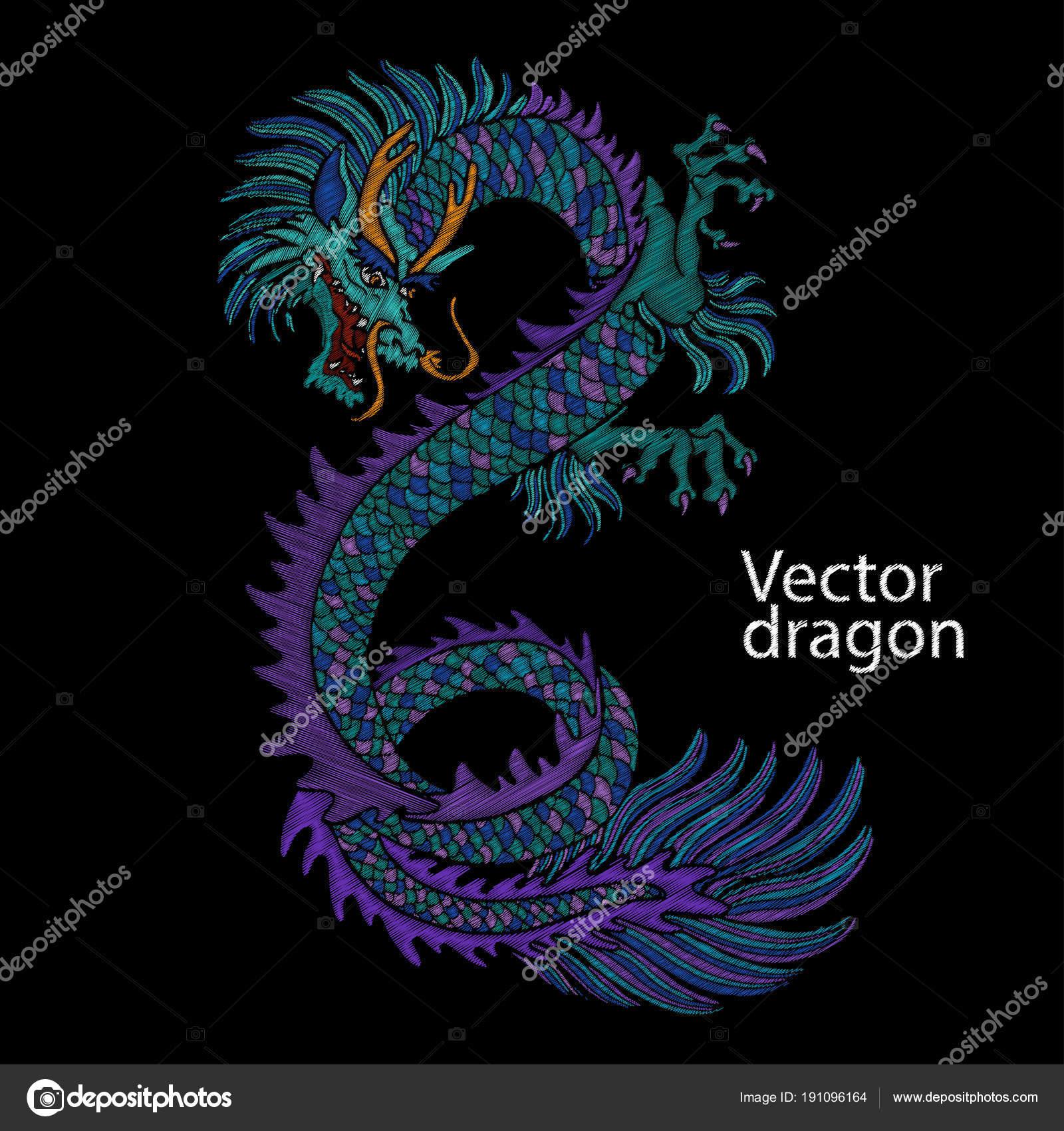 Imágenes Dragones Chinos Bordado De Dragón Chino Dragón Azul