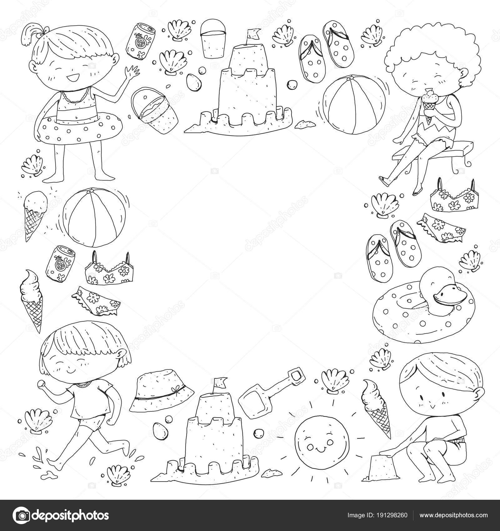 Viñetas Comic Para Colorear Niños En Vacaciones De Verano Felices