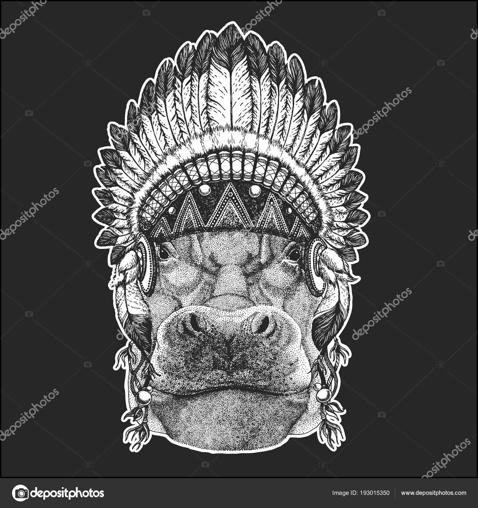 Hippopotamus Tattoo Hippo Hippopotamus Behemoth River Horse Cool Animal Wearing Native American Indian Headdress With Feathers Boho Chic Style Hand Drawn Image For Tattoo Emblem Badge Logo Patch Stock Vector C