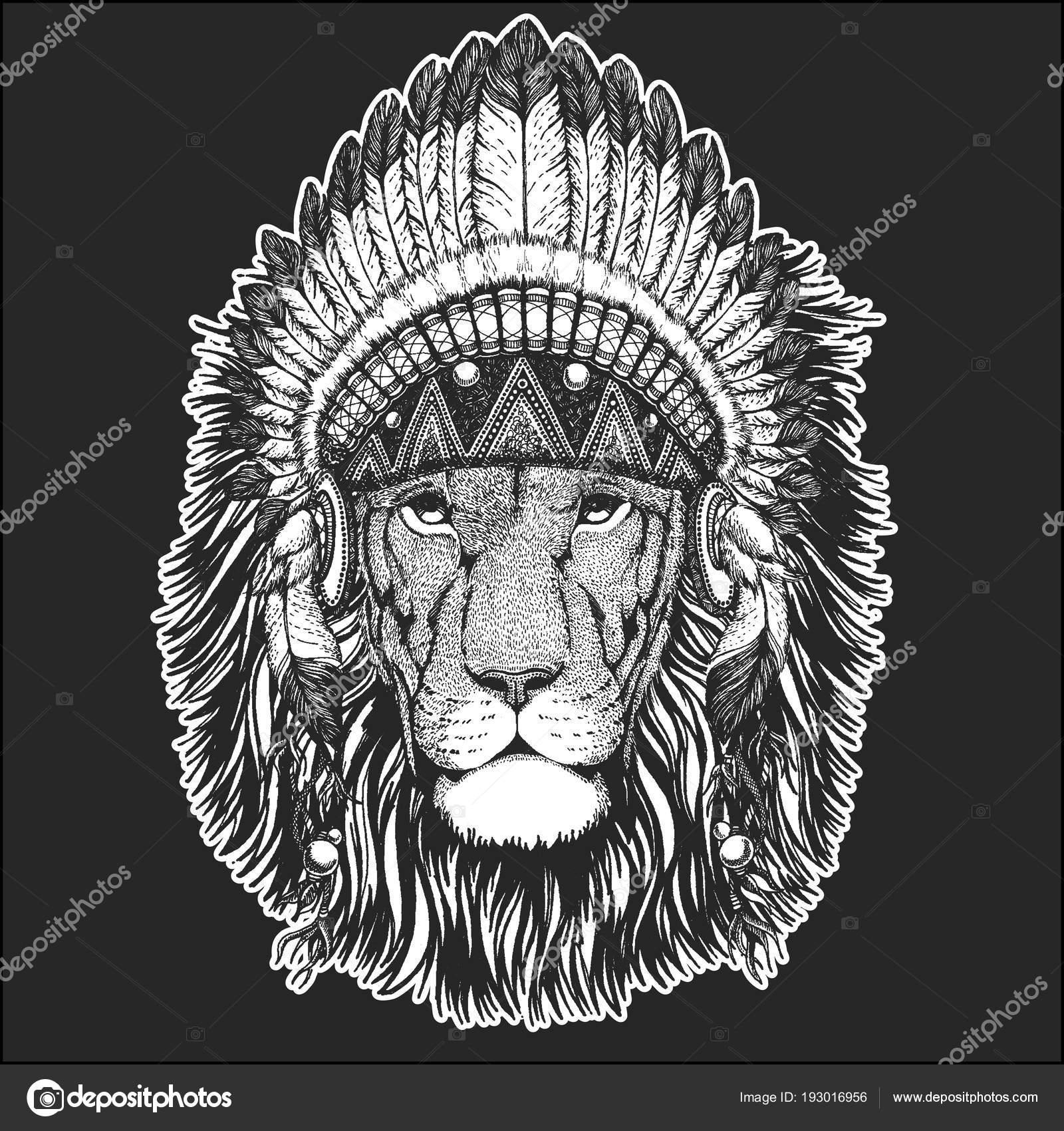 Lion Sauvage Cool Animaux Portant Coiffe D Indien Amerindien Avec