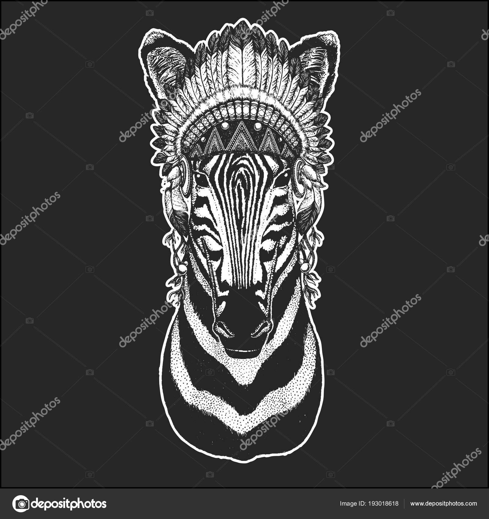 Indian War Horse Tattoos Zebra Horse Cool Animal Wearing Native American Indian Headdress With Feathers Boho Chic Style Hand Drawn Image For Tattoo Emblem Badge Logo Patch Stock Vector C Helen F 193018618