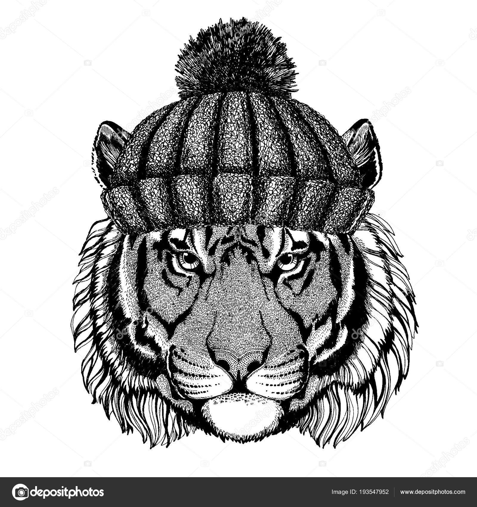 7b76897b03050b Wild tiger Cool animal wearing knitted winter hat. Warm headdress beanie  Christmas cap for tattoo