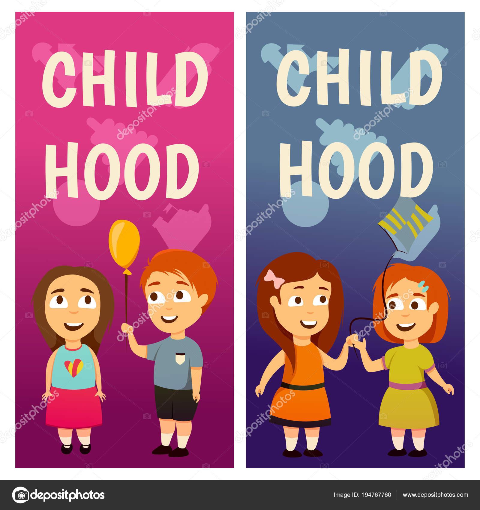 d0841a36133 A los niños. Jardín de la infancia. Educación. Lección niños y niñas  Banners para publicidad — Vector de Helen_F