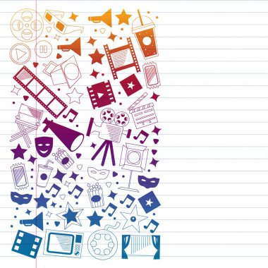 Vector pattern with cinema icons. Movie Theater, TV, popcorn, video clips, musical