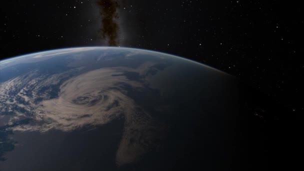 Pohled ze satelitu letící nad planetou Země z vesmíru 3D ilustrační orbitální pohled, naše planeta z oběžné dráhy. Prvky tohoto snímku poskytla NASA