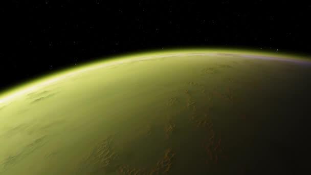 4K Venuše Exoplanet 3D ilustrace, světle zelená, žlutá, oblačná planeta z orbity. Kyselá toxická poušť Prvky tohoto obrazu poskytnuté NASA.