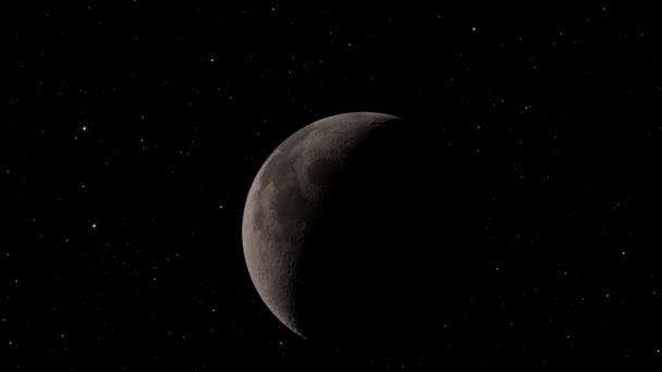 Měsíc pozadí Realistické video. Měsíc je astronomické těleso, které obíhá kolem planety Země. Prvky tohoto snímku poskytla NASA