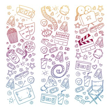 Coloring page. Online internet cinema pattern with vector icons for wrapping paper, posters, banners, leaflets. 3d movie, tv, musical.