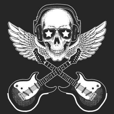 Rock music festival. Skull with guitars. Cool print for poster, banner, t-shirt.