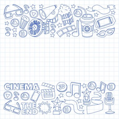 Online cinema vector icons. Background with popcorn, movie illustration, musical notes.