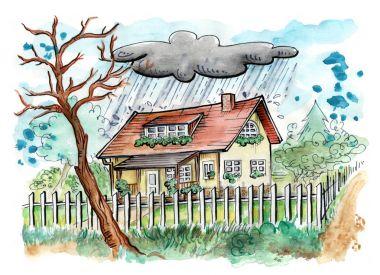 House on a rainy day
