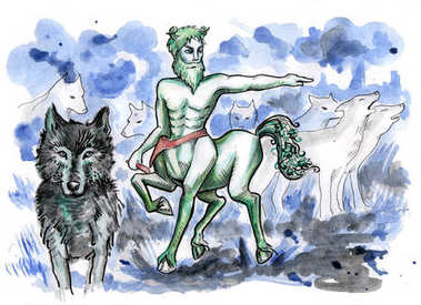 Leshy surrounded by his wolf pack