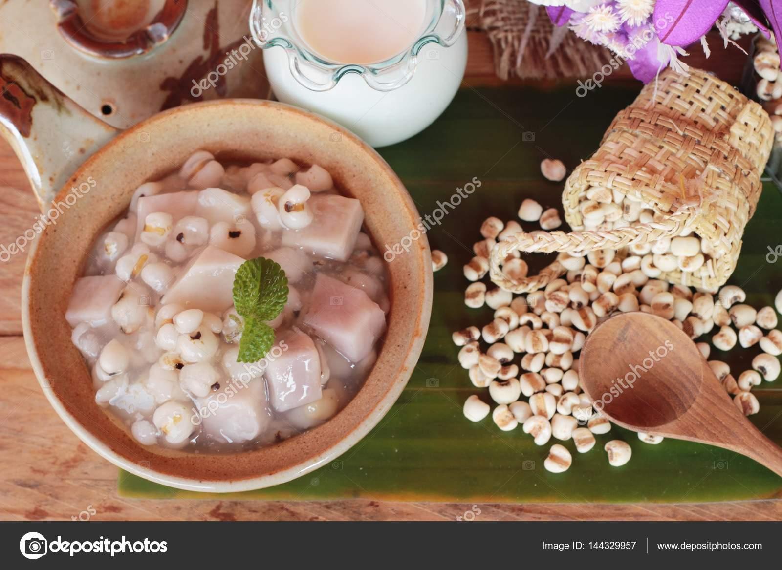 Paino E Taro Com Leite De Coco Sobremesa Tailandesa Stock Photo Navy Fotografia