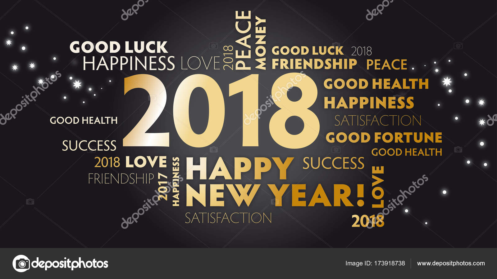 happy new year 2018 best wishes and gold numbers design of gree stock vector