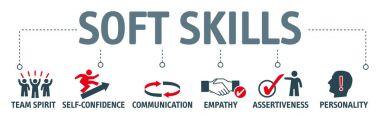 Banner soft skills concept vector illustration