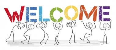 welcome together - People with big colorful letters