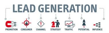 Banner lead generation vector concept