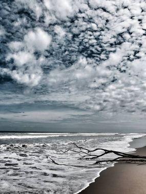Beautiful sea beach. Dark mood
