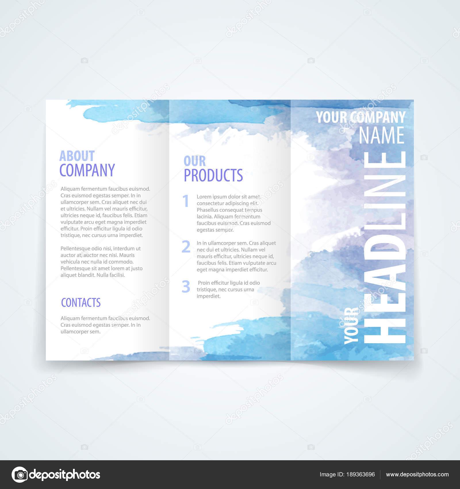 Plantilla de diseño de folleto acuarela — Vector de stock © Antisana ...