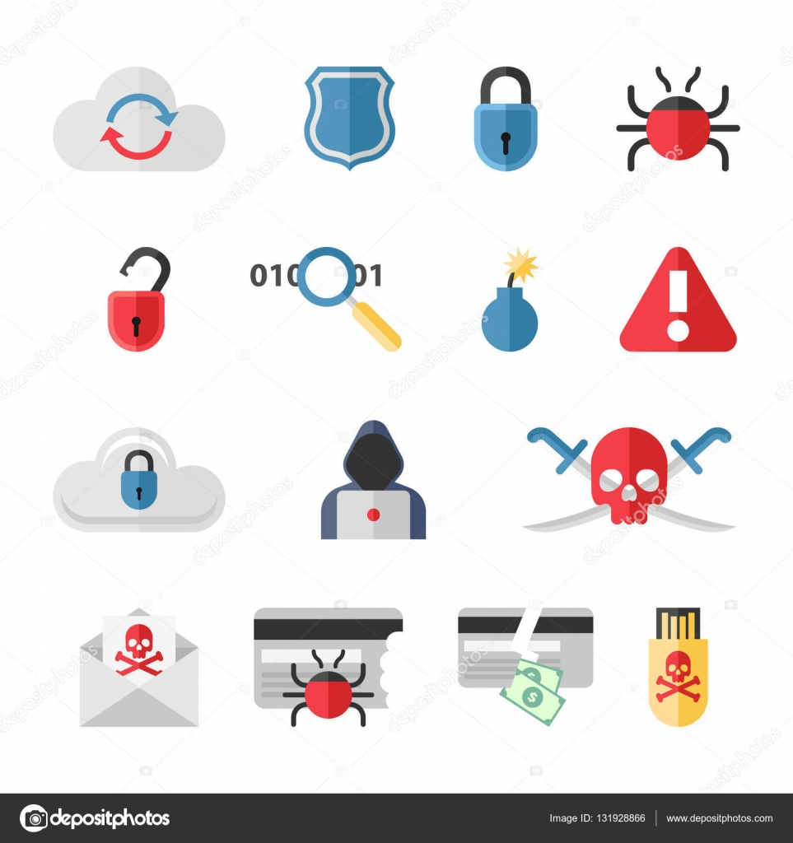 Hacker flat icons set with bug virus crack worm spam ...
