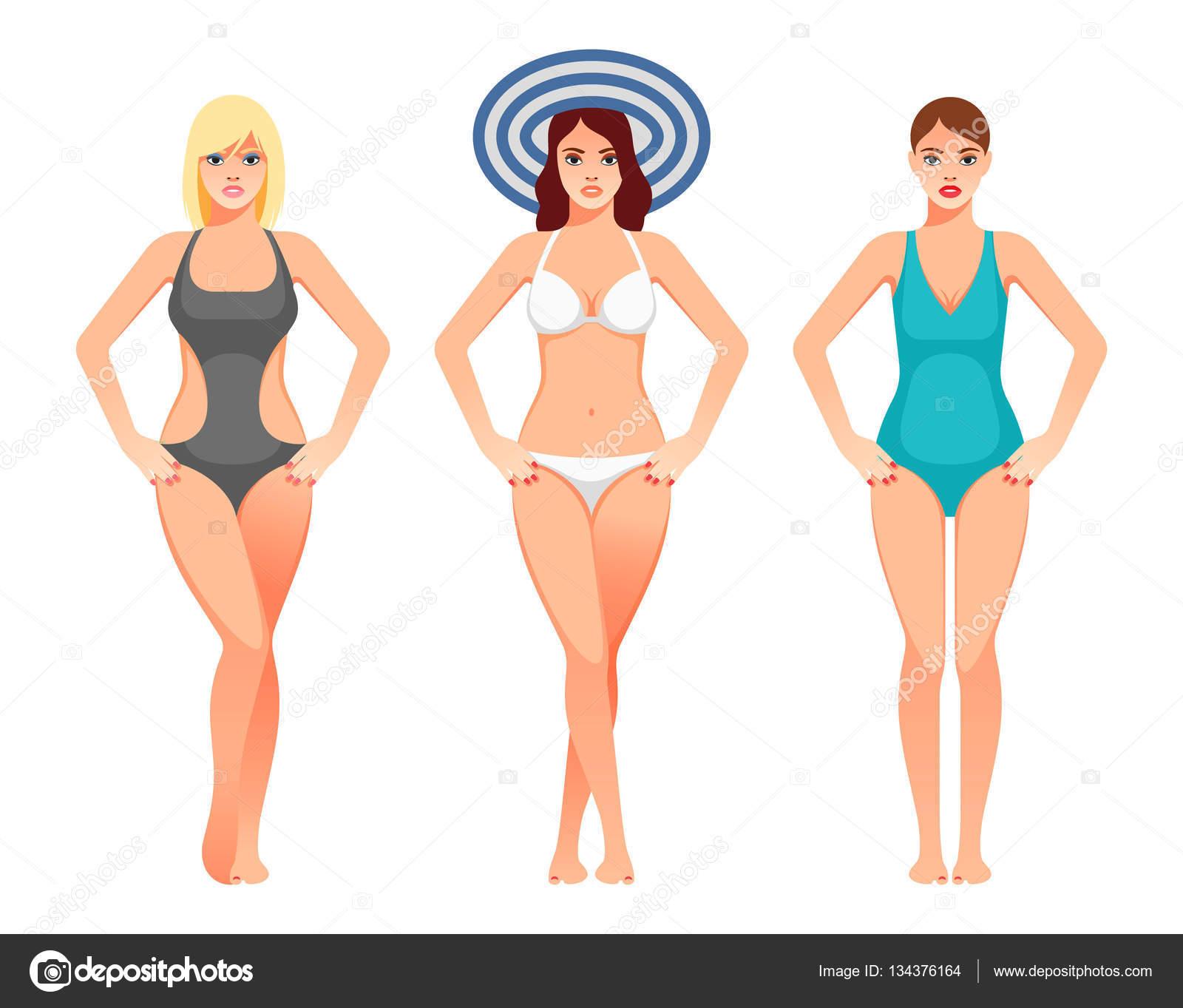 Zwembroek Vrouwen.Vrouwen In Zwembroek Mooie Meisjes In Badpak Stockvector