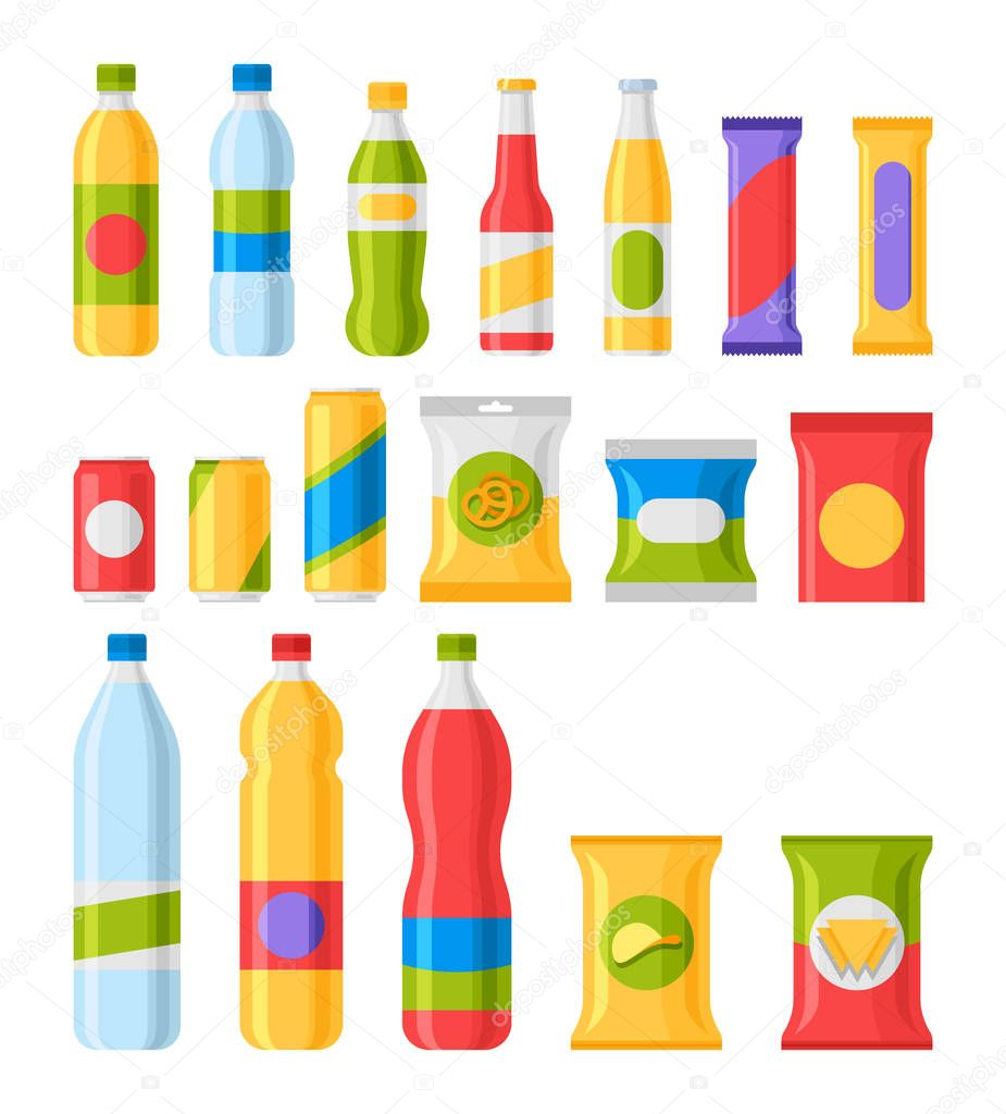 Fast food snacks and drinks flat vector icons.