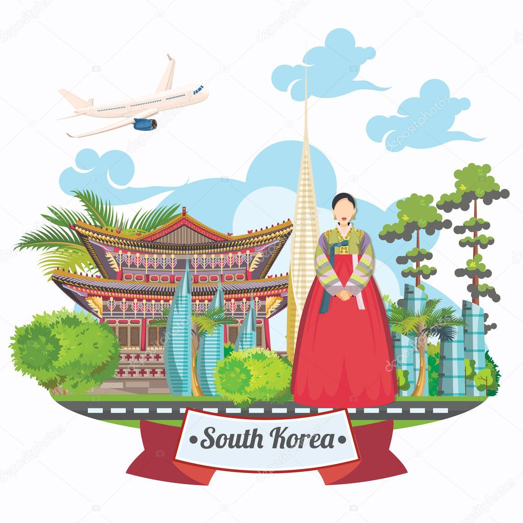 South Korea Travel Vector Poster With Pagodas And Traditional