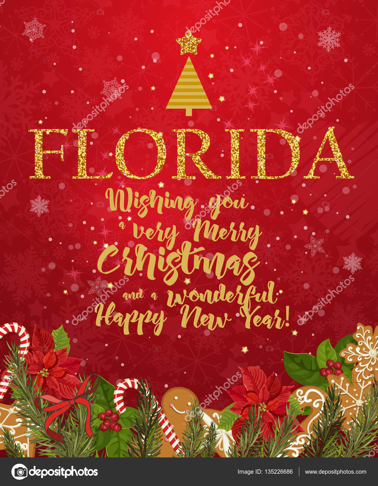 florida merry christmas and a happy new year greeting vector card on red background with snowflakes