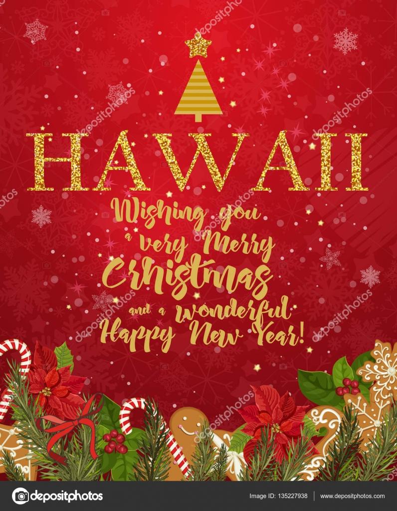 Frohe Weihnachten Hawaii.Hawaii Frohe Weihnachten Und Ein Frohes Neues Jahr Grußkarte Vektor