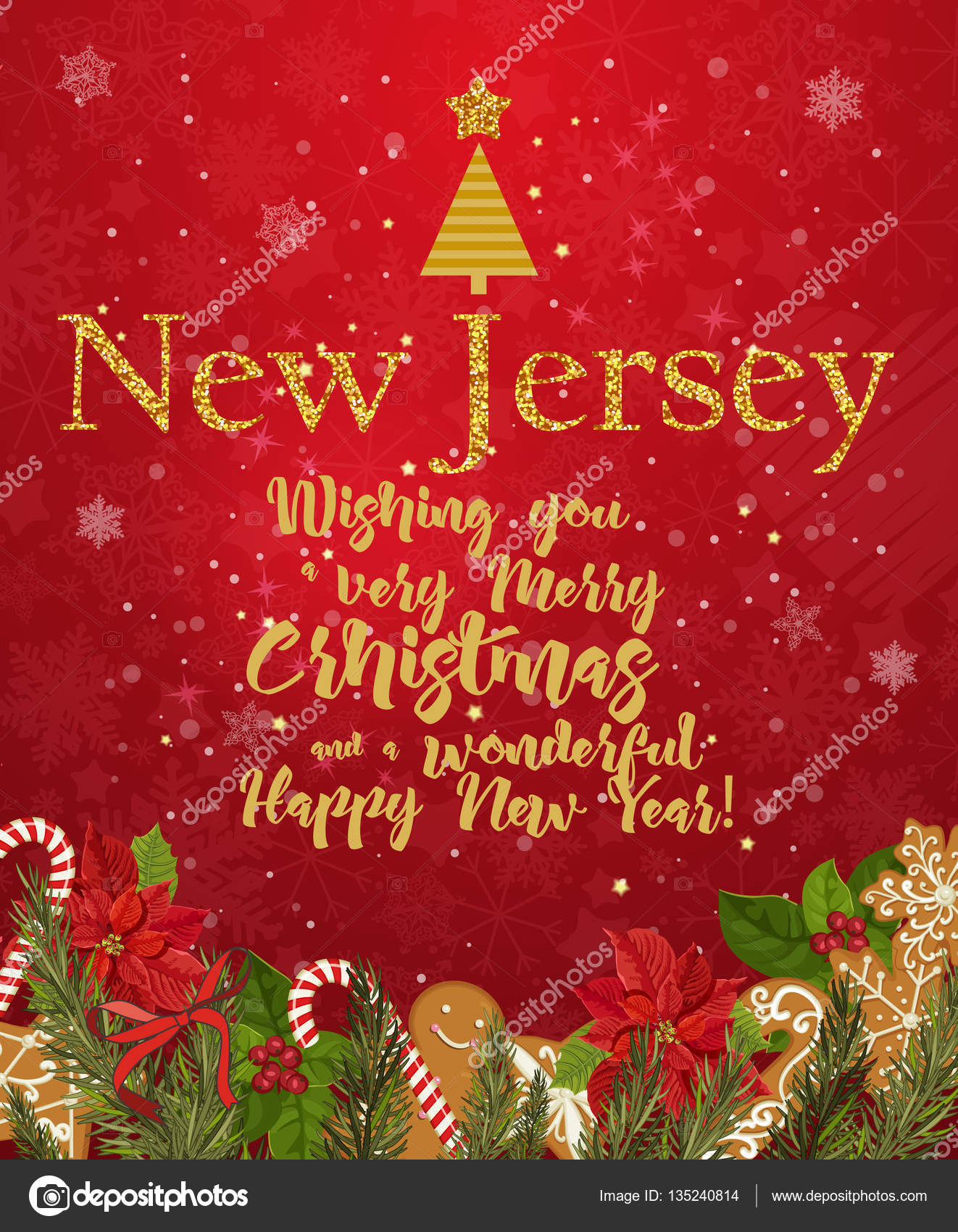 new jersey merry christmas and a happy new year greeting vector card on red background with