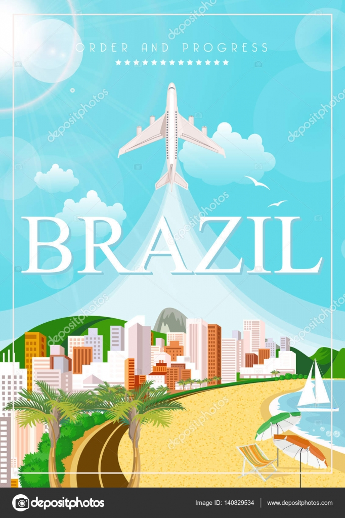 Poster design landscape - Vector Travel Poster Of Brazil With Colorful Modern Design Brazilian Landscape And Monuments Rio