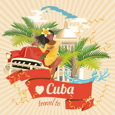 Cuba attraction and sights - travel postcard concept.