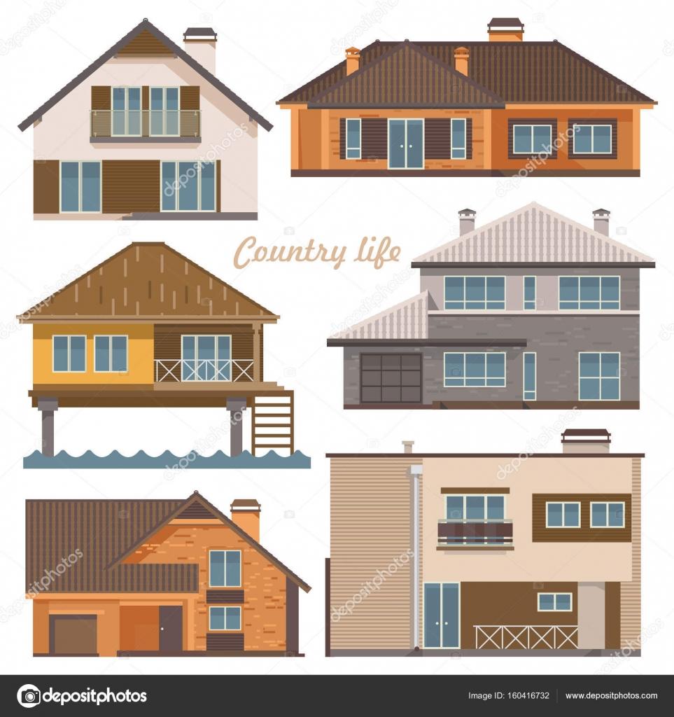 Leben In Der Stadt Vektor Illustration Mit Gebäuden