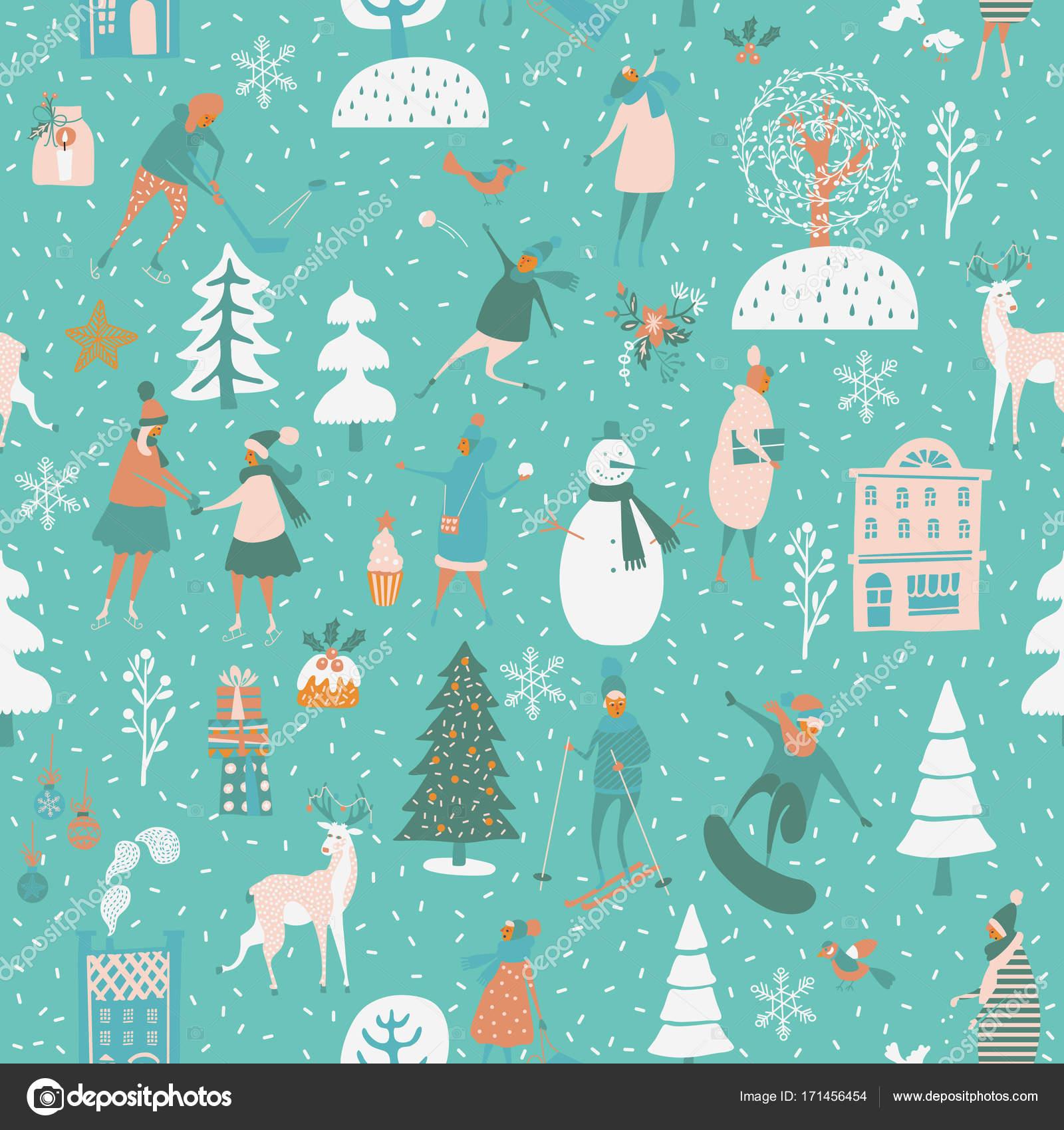 Weihnachten nahtlose Vektormuster Winterspiele, Schneemann, Bäume ...