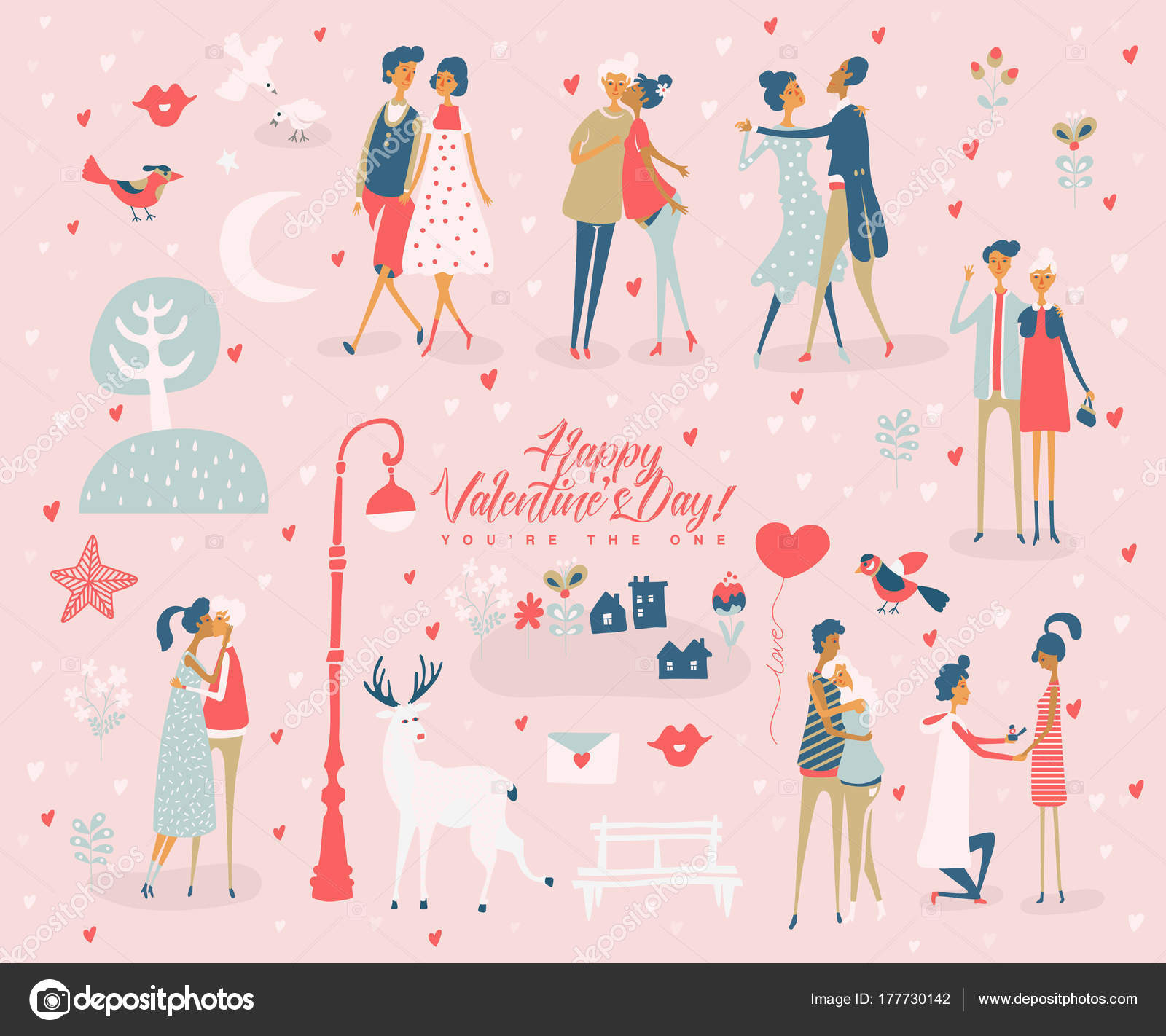 Valentine Day Vector Greeting Card Cute Lovers Boyfriend Girlfriend