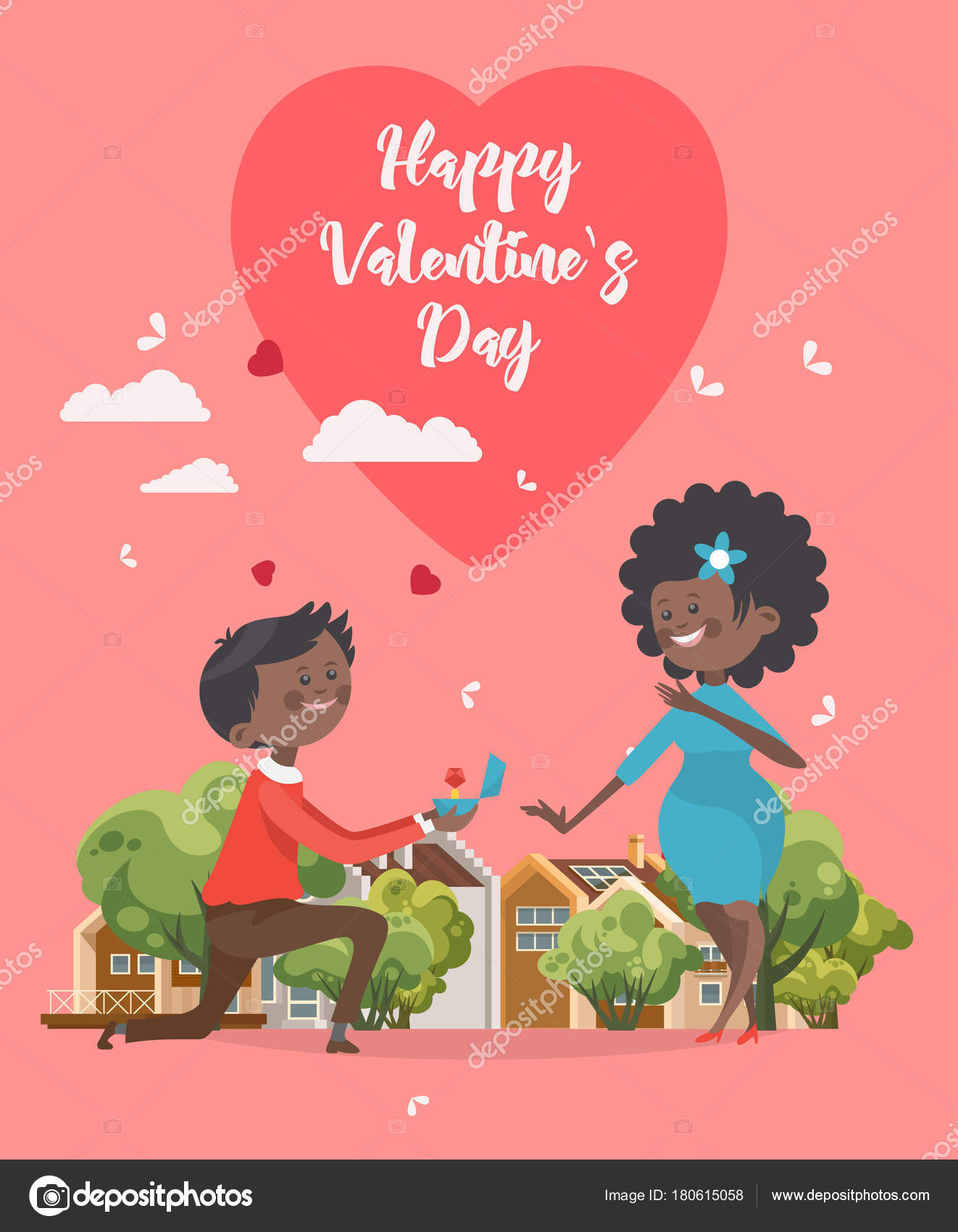 Happy Valentines Day Vector Illustration Greeting Card Young African