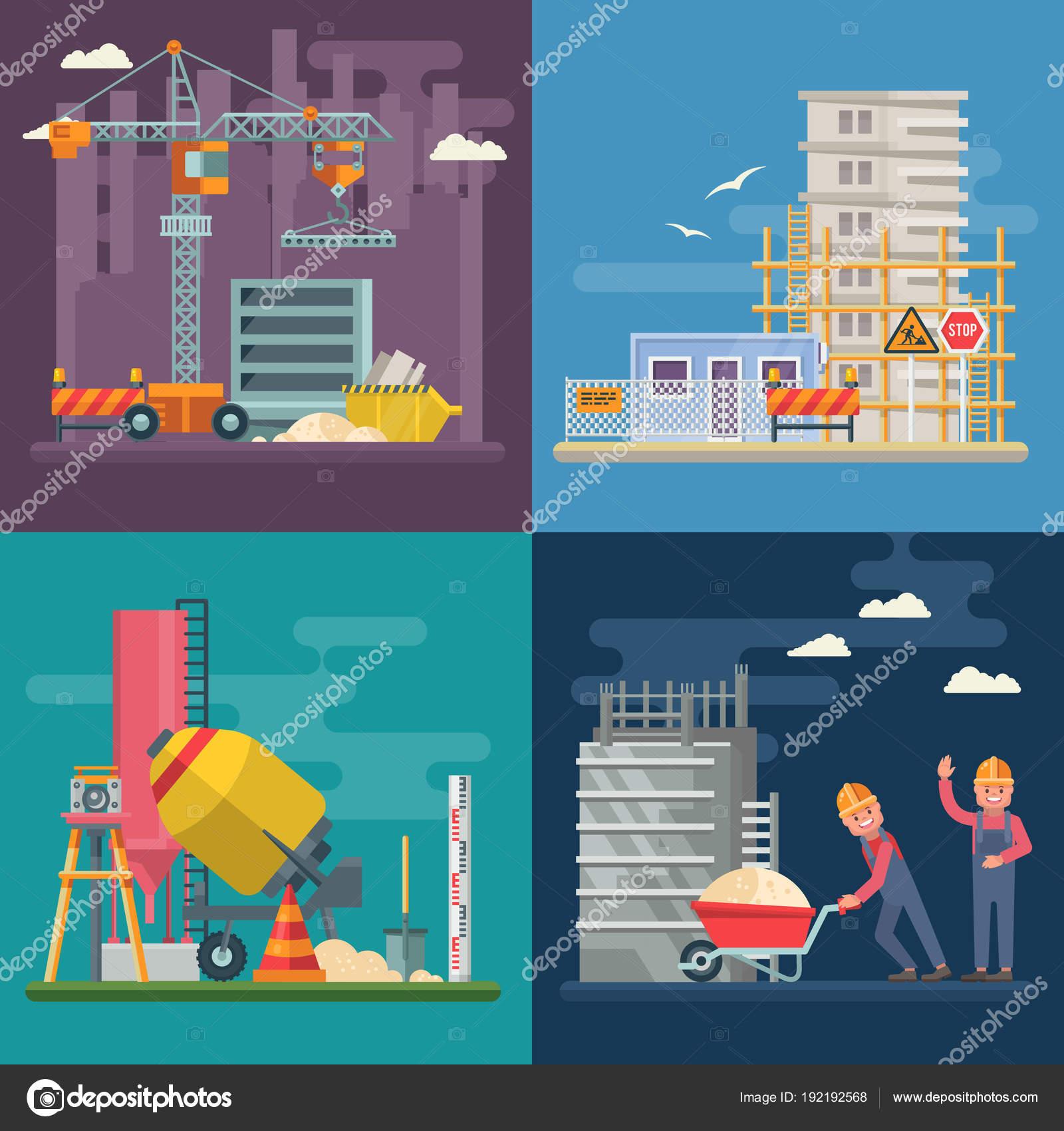 Bau Flache Vektorgrafik Gebäude Poster Modernen Stil Bunte Industrie ...