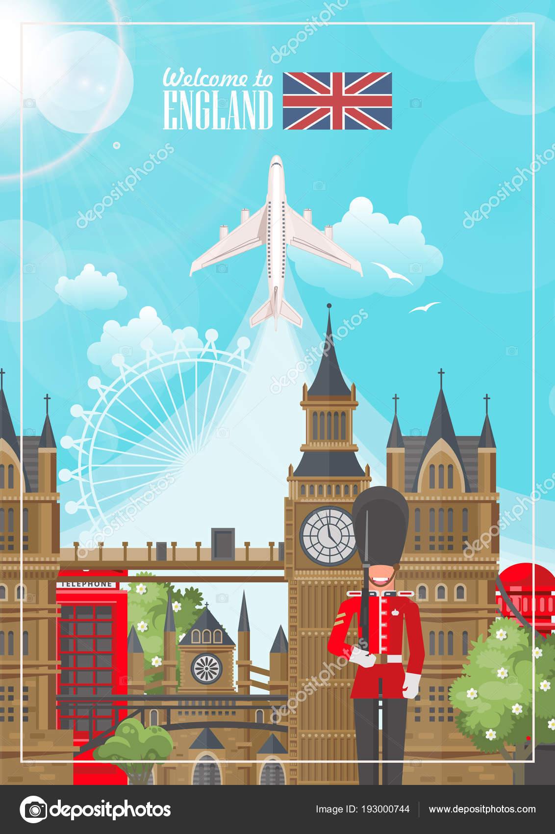 Ilustración Vector Viaje Inglaterra Vacaciones Reino Unido Fondo ...
