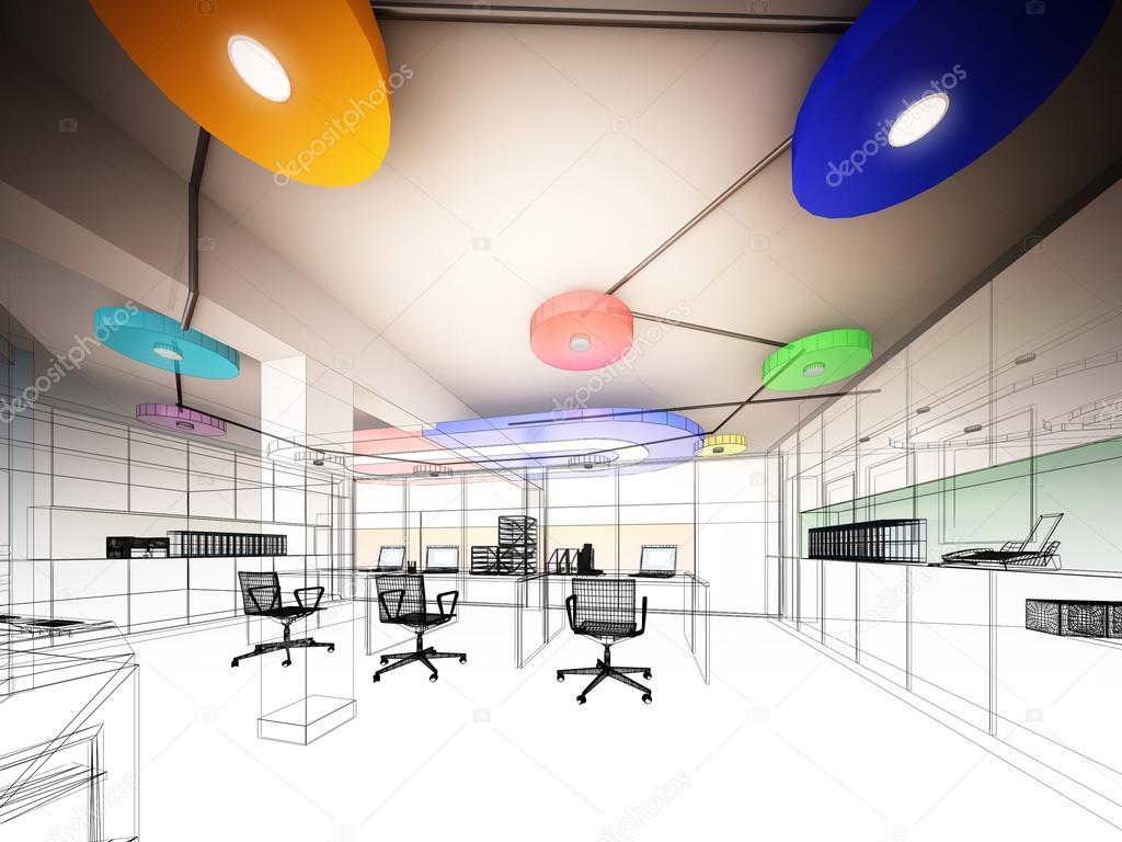 Disegno Di Ufficio : Schizzo disegno di interno ufficio fil di ferro u foto stock