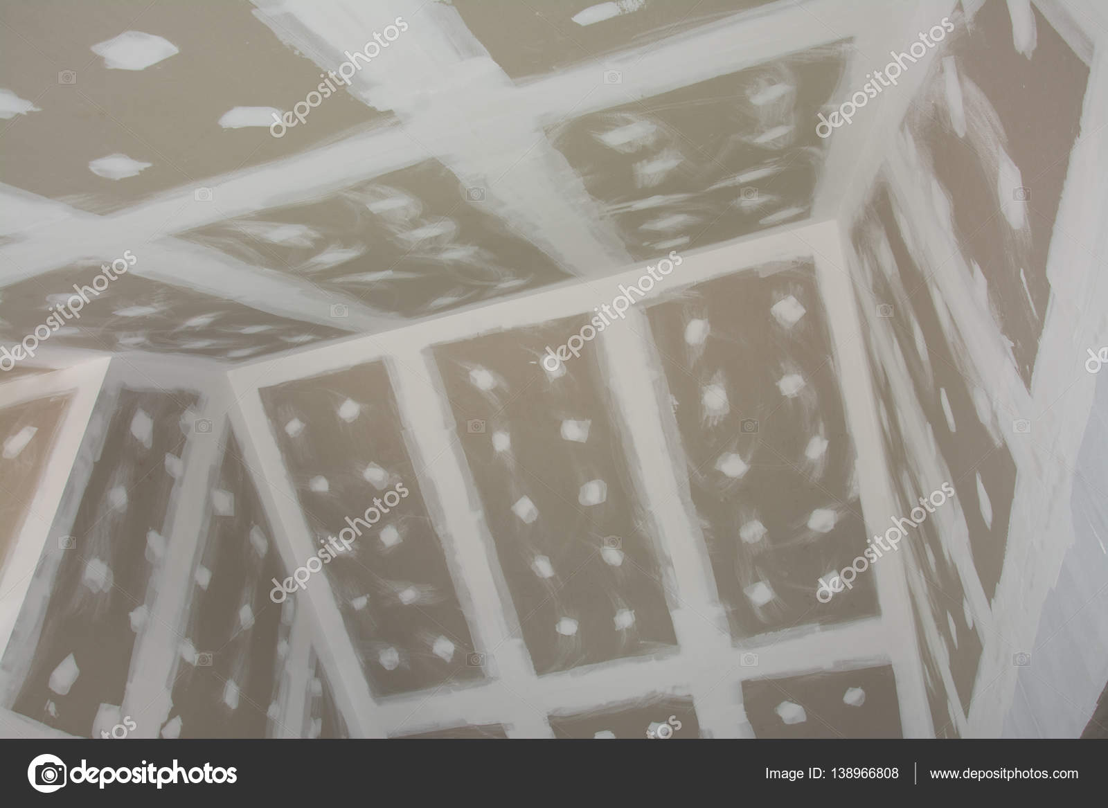 Gypsum Board Ceiling Of House At Construction Site Stock Photo