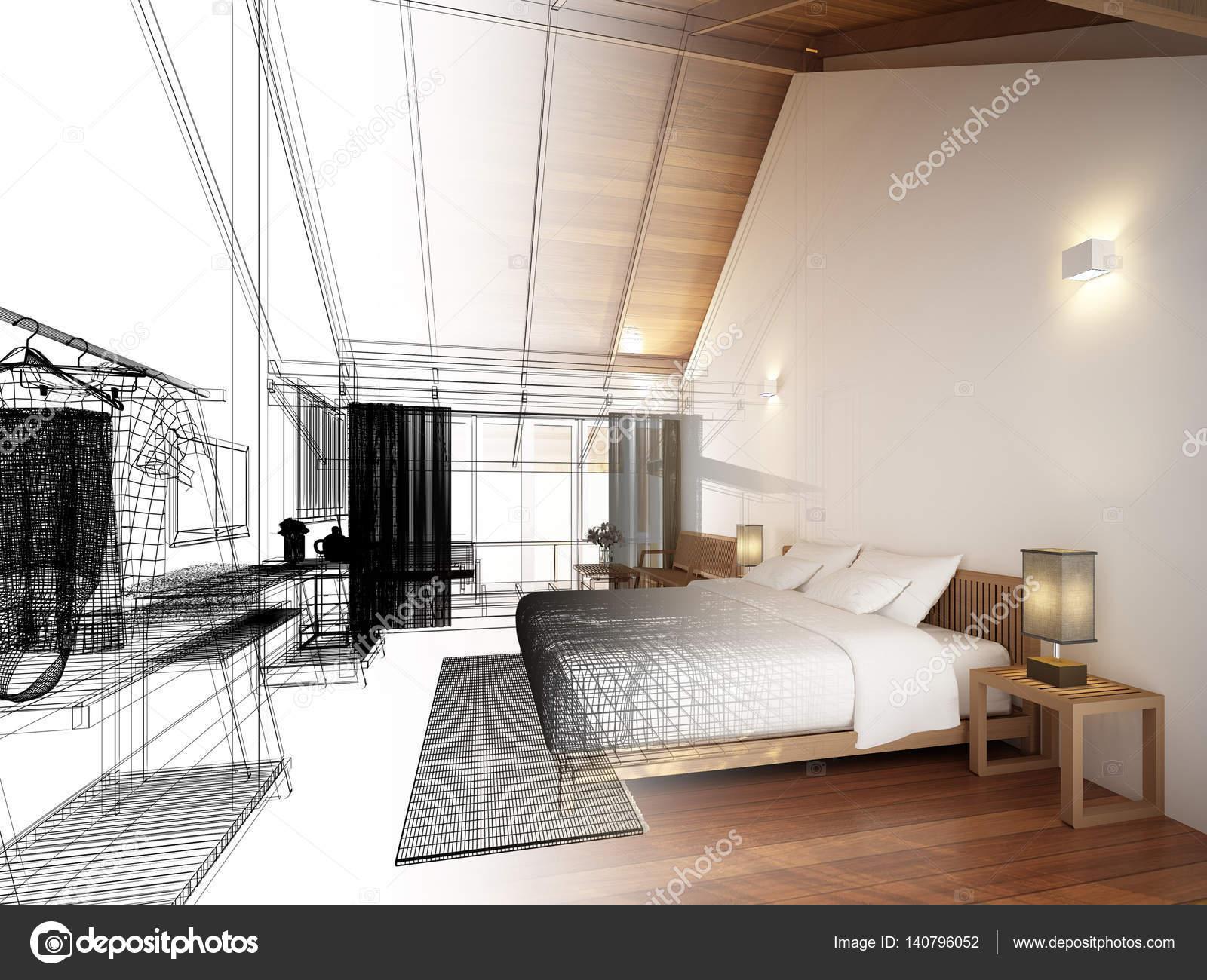 abstract sketch design of interior bedroom stock photo yaryhee rh depositphotos com