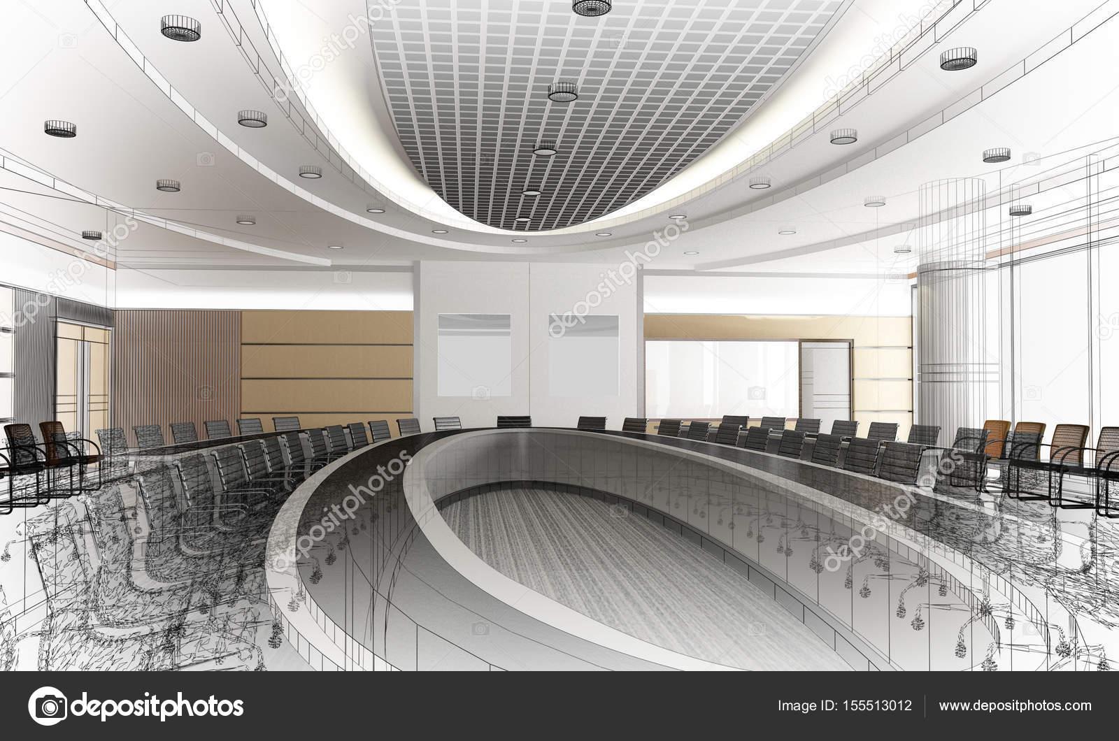Skizze Design Der Inneren Konferenzraum, 3d Rendering Drahtrahmen U2014  Stockfoto