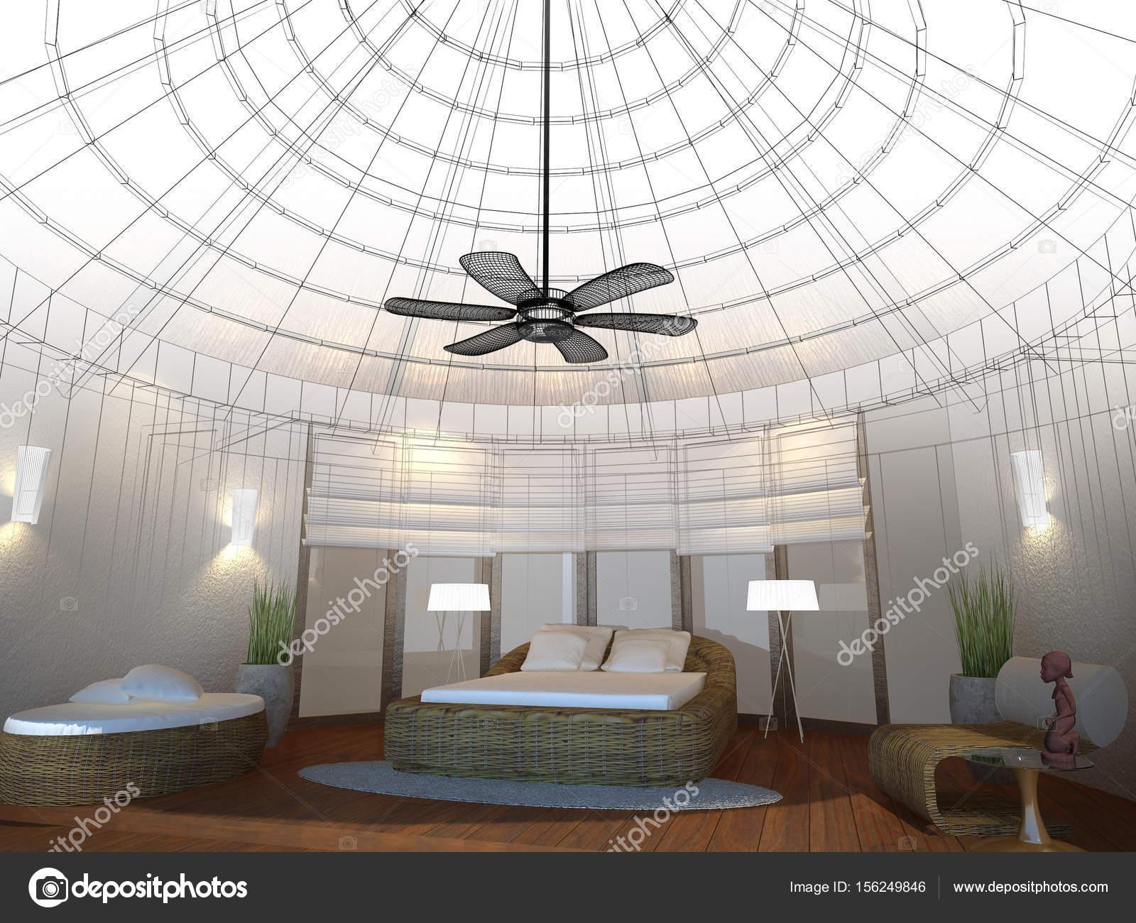 abstracte schets ontwerp van interieur slaapkamer, 3D-rendering ...