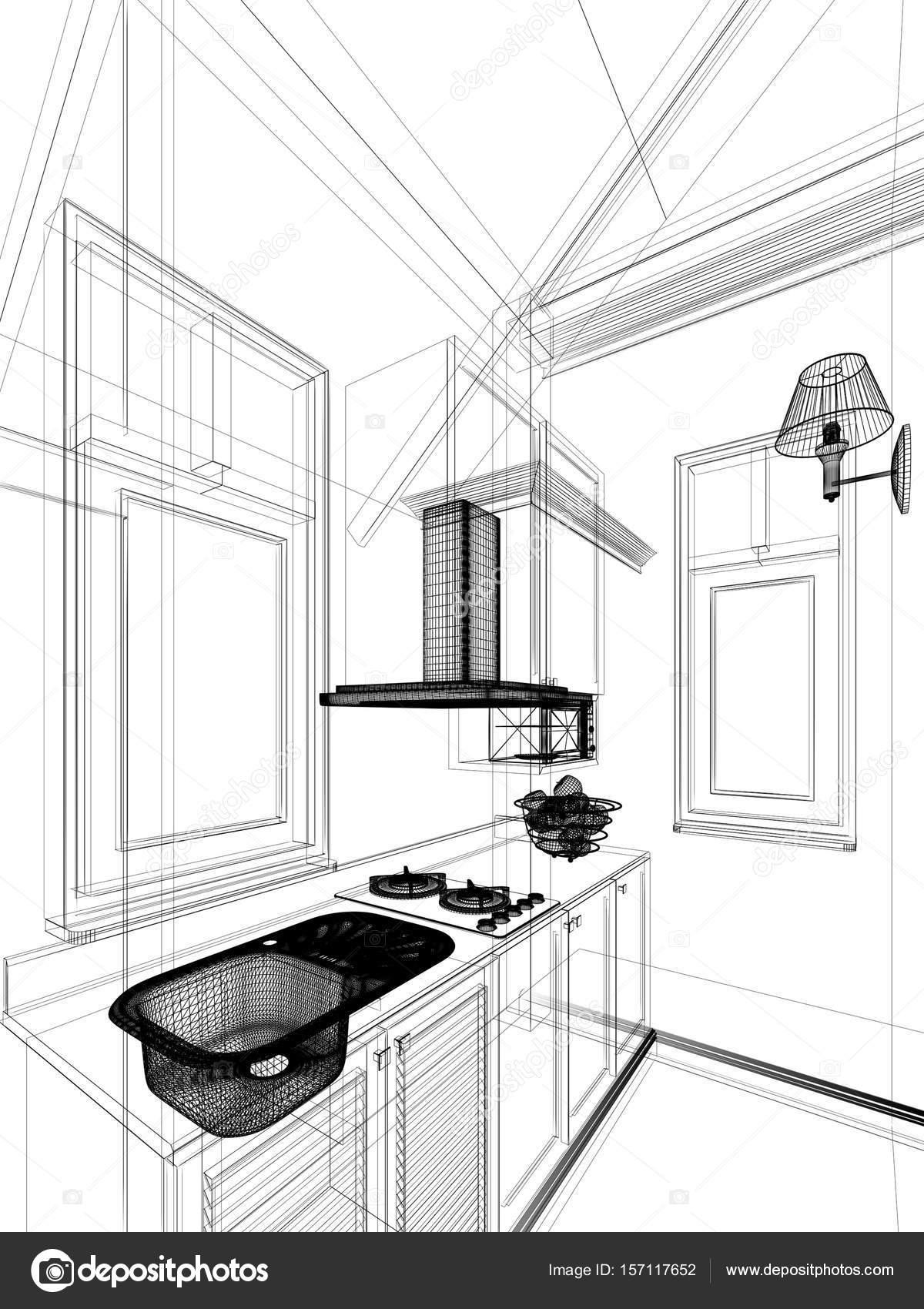 Abbozzo astratto disegno della cucina interna, rendering 3d — Foto ...