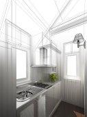 abstraktní skica design interiéru kuchyně, 3d vykreslování