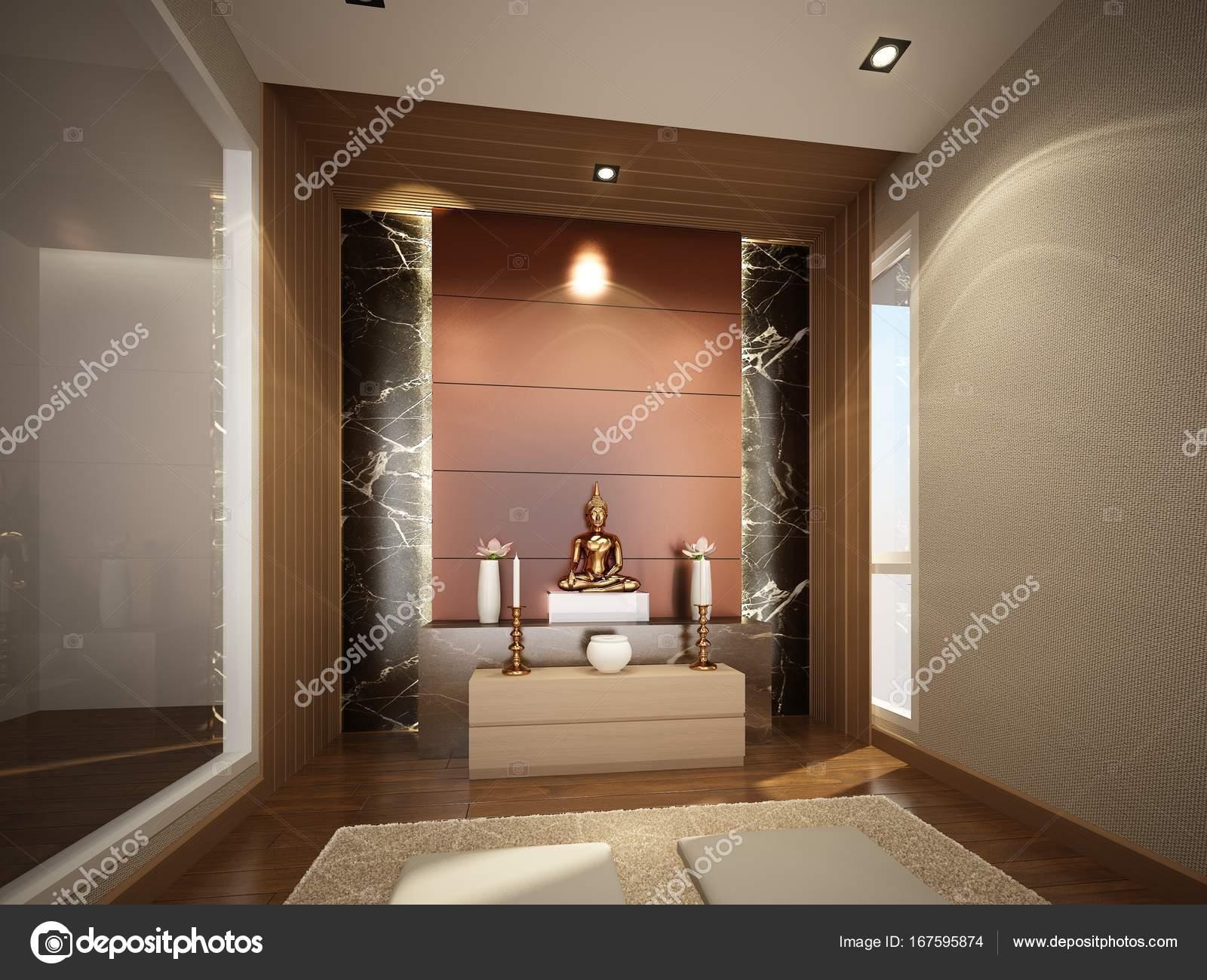 schets ontwerp van interieur buddha kamer — Stockfoto © yaryhee ...