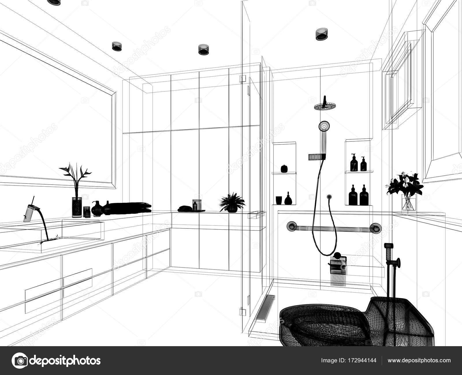 Abstract Sketch Design Of Interior Bathroom 3d Rendering Stock Photo C Yaryhee 172944144
