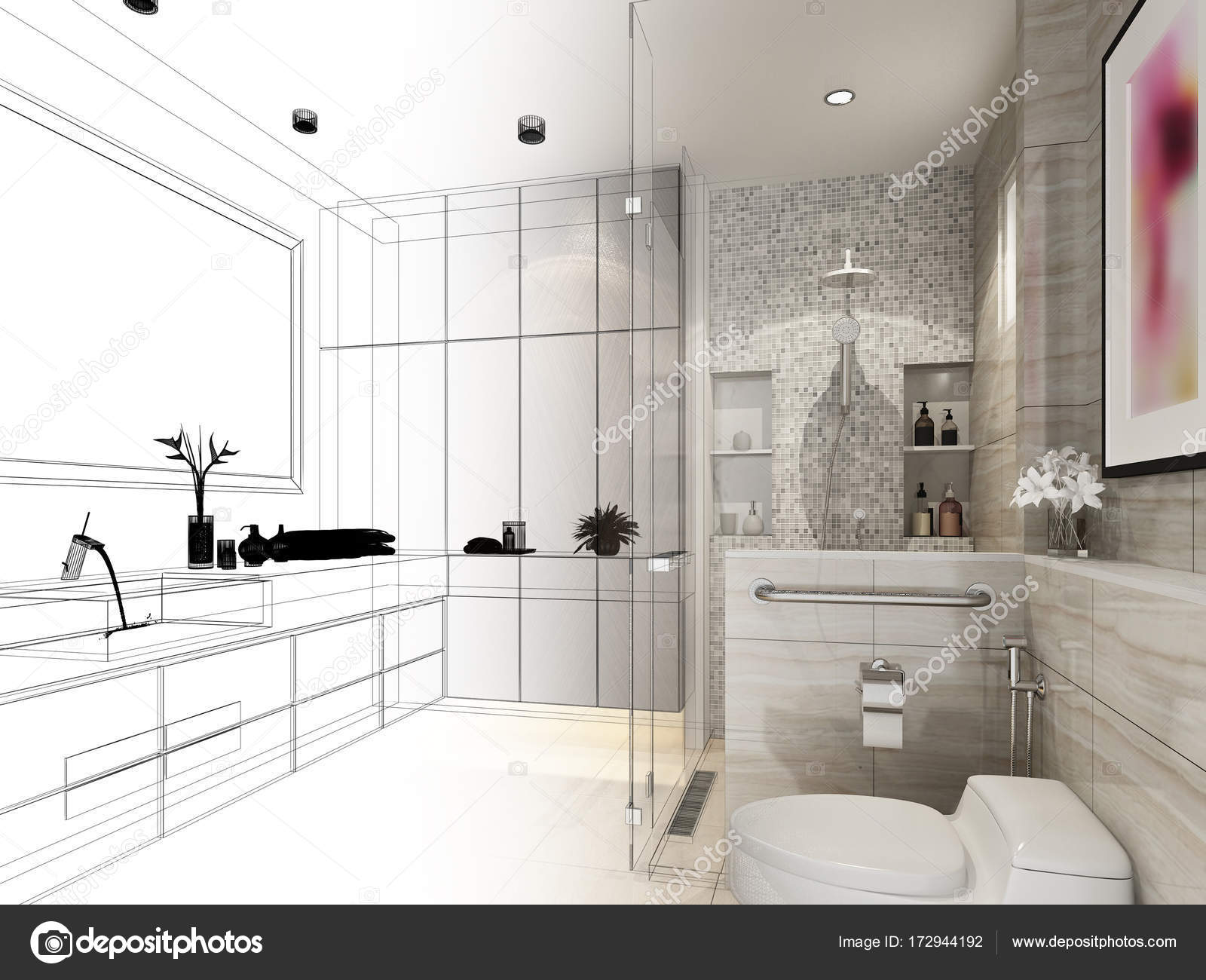 abstract sketch design of interior bathroom ,3d rendering — Stock ...