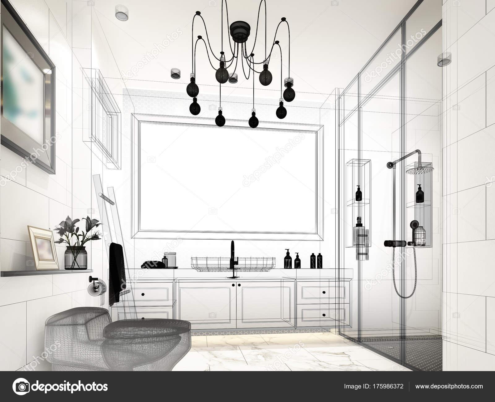 abstract sketch design of interior bathroom ,3d rendering — Stock ...