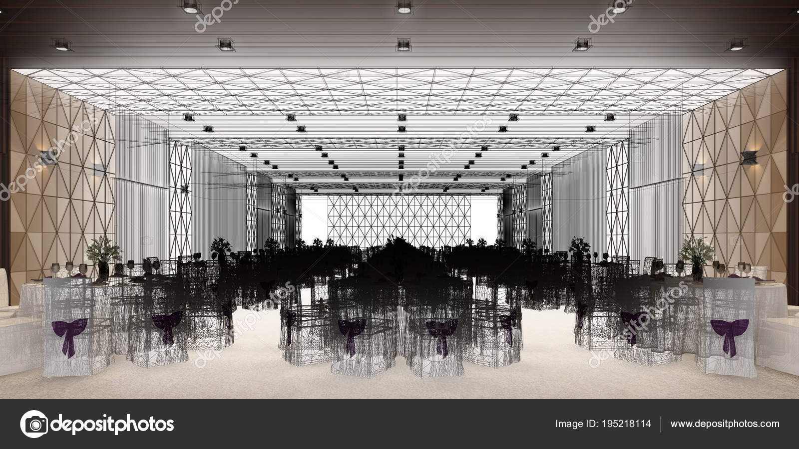 banquet hall 3d,rendering — Stock Photo © yaryhee #195218114